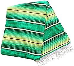 Del Mex TM X-large Mexican Serape Beach Blanket Two Tone Green Lime