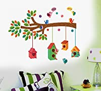 StickersKart Wall Stickers Nursery Colourful Bird House on a Branch (Wall Covering Area: 100cm x 100cm)