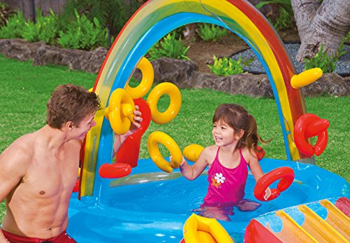 Intex Rainbow Ring Inflatable Play Center, 117″ X 76″ X 53″, for Ages 2+