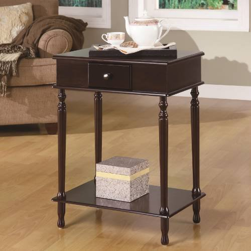 Cheap Coaster Furniture 900956 Rectangular End Table with 1 Drawer and Inlay Shelf in Cappuccino 900956 (B008A1JHFU)