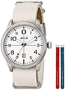 AVI-8 Men's AV-4029-01 FlyBoy Analog Display Japanese Quartz White Watch Set