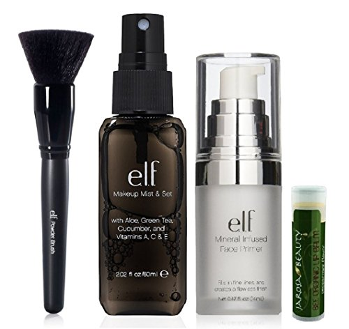e.l.f. Makeup Set: Includes - Makeup Mist & Set 2.02 fl.oz/60mL, Mineral Infused Face Primer 0.47 fl.oz/14mL and Powder Brush with a Jarosa Bee Organic Peppermint Lip Balm (Elf Set And Seal compare prices)