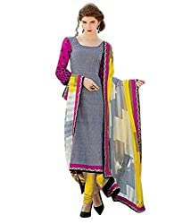 IndiWeaves Women Cotton Embroidered Grey Dress Material