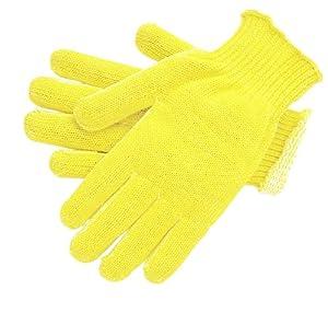 MCR Safety 9362L Kevlar Cotton Regular Weight 7 Gauge Plaited Gloves, Yellow, Large