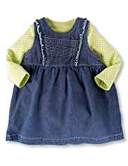 2 Piece Pure Cotton Denim Pinafore Outfit
