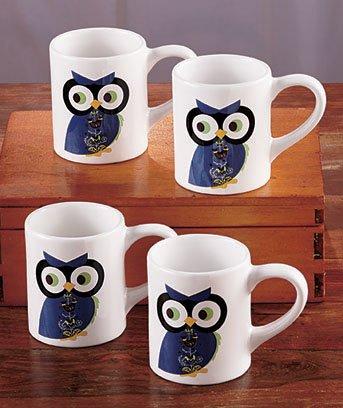 Set Of 4 Owl Themed Mugs
