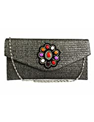 JUTE CLUTCH WITH RICH BROOCH FLAP (BLACK)