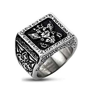 11.5MM Polished Stainless Steel Biker Ring With Royal Empire Shield Design