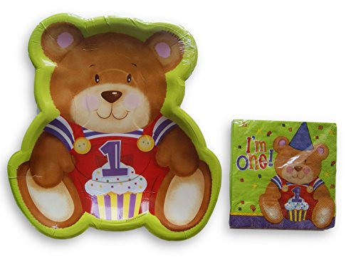 First Birthday Party Supply Kit - Teddy Bear Theme - Napkins and Plates (Teddy Bear Theme compare prices)