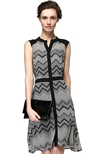 GVG Women's Wave Pattern Sleeveless Causal Tunic Sleeveless Business Dress (S-Large)