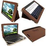 "igadgitz Étui Housse 'Portfolio' Marron en Cuir PU pour Asus Eee Pad Transformer & Dock Clavier TF300 TF300T TF300TG & TF300TL 10.1"" Android Tablette"