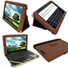 iGadgitz Brown 'Portfolio' PU Leather Case Cover for Asus Eee Pad Transformer & Keyboard Dock TF300 TF300T TF300TG & TF300TL 10.1 Android Tablet