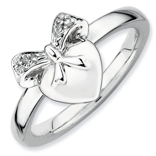 Heart and Bow Diamond Stackable Ring - Size 6