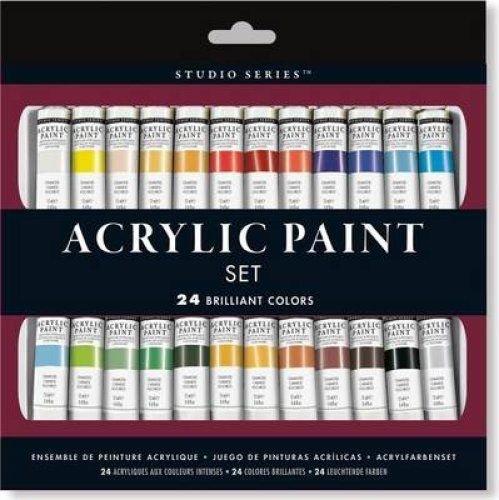 Studio Series Acrylic Paint Set (24 Colors) A Complete Palette of Acrylic Paints. Perfect for Artist by Inc Peter Pauper (How To Crackle Paint)
