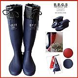 [B.B.GENERAL STORE] オリジナル レインブーツ 長靴 rainboots  【折りたたみ】【パッカブル】L 24.5~25cm ネイビー