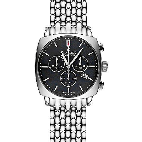 Charmex Vintage 2431 40x40mm Silver Steel Bracelet & Case Synthetic Sapphire Men's Watch