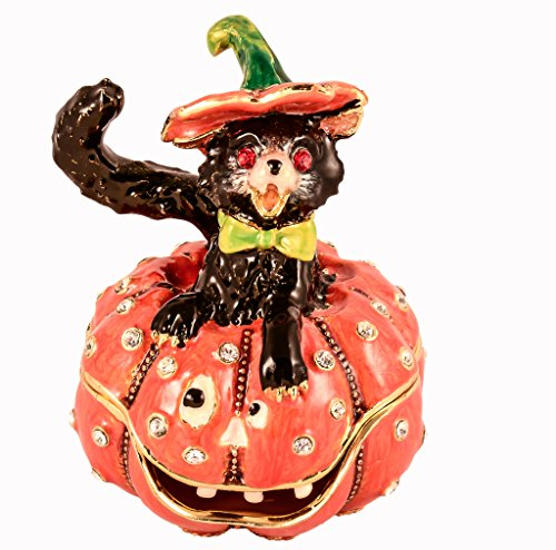 Halloween Cat Sitting on Pumpkin Trinket Box