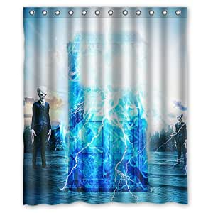 Custom Bath Curtain Hot Sales Doctor Who Police Box Shower Curtain 66 X 72 Inches High Quality