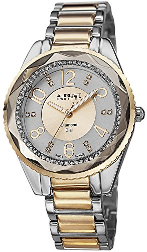 August Steiner Women's Swiss Quartz Diamond Dial Silver-tone & Gold-tone Bracelet Watch