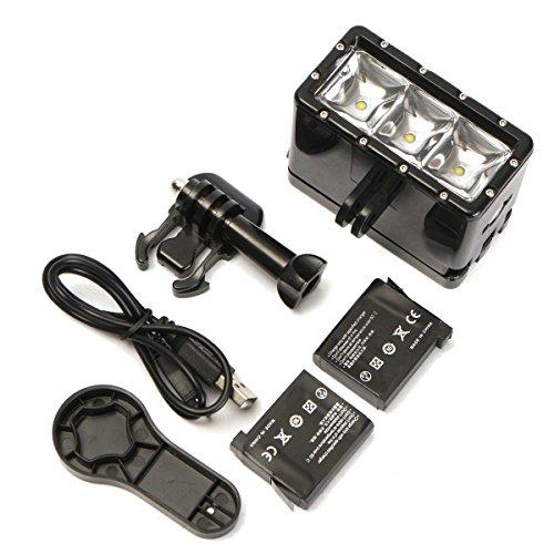 MOHOO 30m Sous-marin LED Etanche Lumière Dive Avec batterie AHDBT-201 Pour Xiaomi Yi GoPro SJ4000