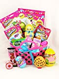 Adorable Shopkins Easter Bunny Candy and Toy Gift Basket in Shopping Bag