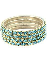 Set Of Shining Golden And Sky Blue Bangles, Perfect For Formal As Well As Informal Occasions