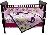 Babys Purple Owls Cute 4 Piece Crib Bedding Set Blankets And Beyond