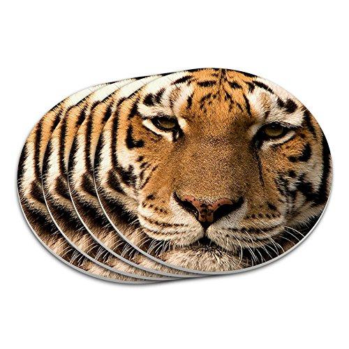 Bengal Tiger Face Coaster Set