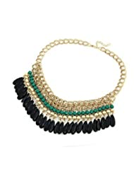 Crunchy Fashion Tassel Drop Statement Necklace-Green
