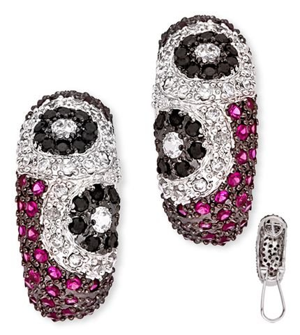 Lovely Floral-Themed C.Z. Black Ruby Diamond Clip With Post Earrings (Nice Holiday Gift, Special Black Firday Sale)