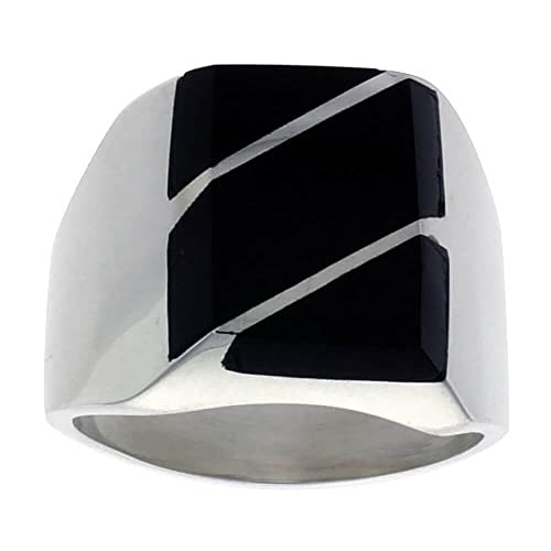 Gent's Sterling Silver Black Obsidian with Diagonal Stripes Ring