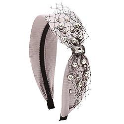 Ginny Grey Faux Pearl Wide Hairband/Headband