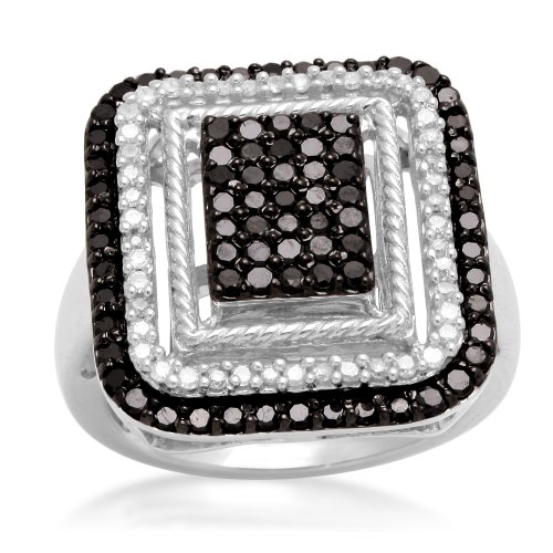 Jewelili Sterling Silver Black and White Diamond Rectangular Shape Ring (1 Cttw, IJ Colour, I2/I3 Clarity), Size 7