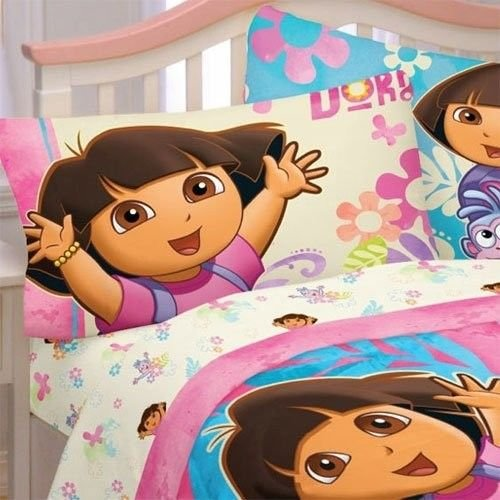 Ship-from-USA-Dora-the-Explorer-sheet-pillow-set-4-pieces-bedding-full-size-pink-hearts-new-PACKNO-FWEGB41S-1GH133