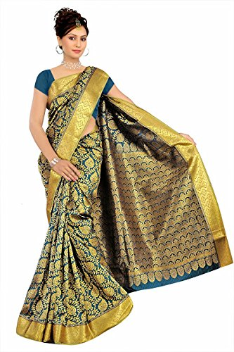 Varkala Silk Sarees Silk Kanchipuram Saree With Blouse Piece (GS4115F_Firozi)