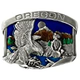 Pewter Belt Buckle Oregon Eagle and Goldminer - Pewter Belt Buckle