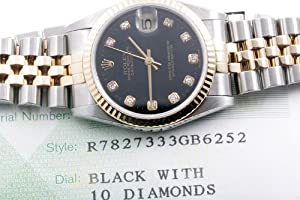 ROLEX OYSTER PERPETUAL DATEJUST Rolex 18K/SS Midsize Datejust - Black Diamond Dial! 78273 PRE-OWNED EXCELLENT CONDITION