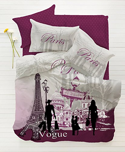 100% Cotton 4pcs Paris Vogue Purple Full Double Size Duvet Quilt Cover Set Eiffel Theme Bedding Linens