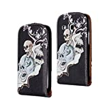 SuperStore_Electronics(TM) Stylish Printing Retro Style Durable Slim-Fit Flip PU Leather Protective Defense Stand Case Cover For Samsung Galaxy S III Mini I8190 (blood curdling skull)