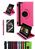 """Amazon Kindle Fire HDX 7"""", CINEYO(TM) 360 Degree Rotating Stand Case Cover with Auto Sleep / Wake Feature for Amazon Kindle Fire HDX (10 Colors)(will only fit Kindle Fire HDX 7"""" 2013) (Hot Pink)"""
