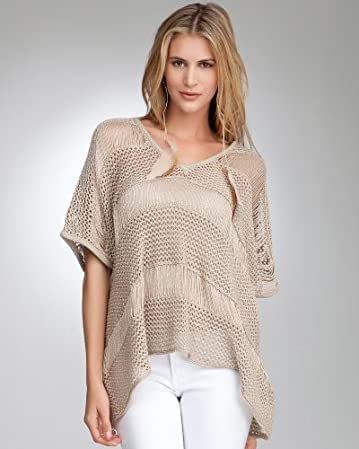 Drop Needle Metallic Poncho from bebe.com
