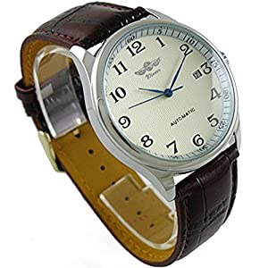 Mastop Men's Classic Automatic Mechanical Day Calendar Luxury Leather Band Watch