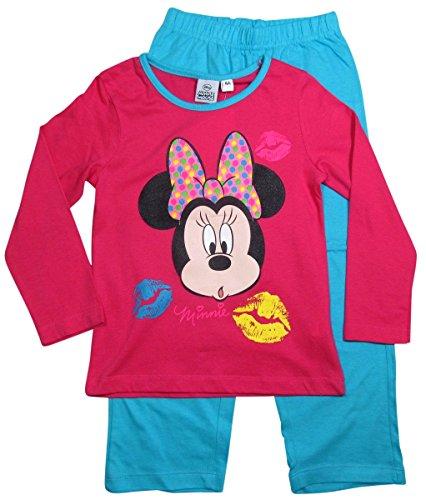 Minnie Mouse Kollektion 2015 Pyjama 92 98 104 110 116 122 128 Schlafanzug Nachtwäsche Neu Lang Maus Fuchsia-Blau (98 - 104)