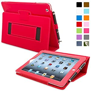 Snugg iPad 2 Leather Case in Red - Flip Stand Cover with Elastic Hand Strap and Premium Nubuck Fibre Interior - Automatically Wakes and Puts the Apple iPad 2 to Sleep