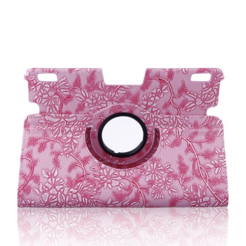 "Auto Sleep / Wake Feature Flower Pattern 360 Degree Rotating Lightweight Smart Case Cover For Kindle Fire Hdx 8.9"" Tablet 8.9"" Hdx Display, Wi-Fi, Optional 4G Lte Wireless, 16Gb, 32Gb, Or 64Gb(2013 Release)- Pink Embossed Flower + Free Gift One Stylus Pen"