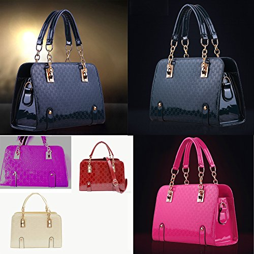 New Fashion Womens PU Leather Padlock Tote Handbag Shoulder Bag