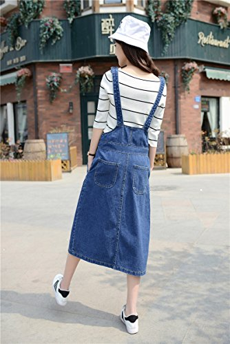 Skirt BL Women's Vintage Plus Size Blue Romper Denim Overall Jean Skirt Dress 2