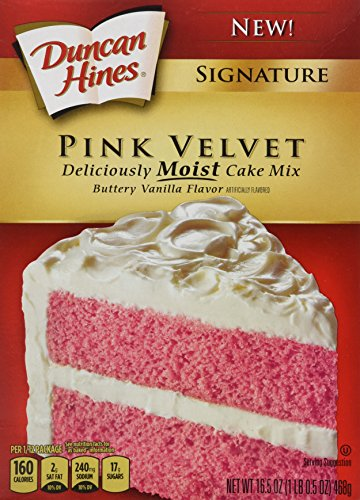 Duncan Hines Signature Pink Velvet Buttery Vanilla Flavor Cake Mix, 16.5oz Box (Pack of 3) (Pink Cake Mix compare prices)