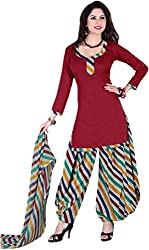 Lamiya Women's Unstitched Salwar Suit (PIC5007_Brown_Free Size)