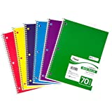 Mead Spiral Notebook 1-Subject, 70-Count, Wide Ruled, Assorted Colors, 4 Pack (72873)